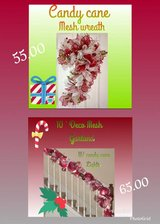 candy cane wreath and mesh garland in Baytown, Texas