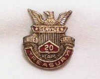 US Treasury Dept 20 Year Service Sterling Silver Retirement Pin Lapel Tie Tack in Houston, Texas