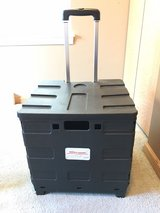 """Office Depot® Brand Mobile Folding Cart With Lid, 16""""H x 18""""W x 15""""D, Black in Plainfield, Illinois"""