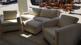 Full sofa set. Couch. 2x arm chairs. Leg rest. Glass marble table. in 29 Palms, California