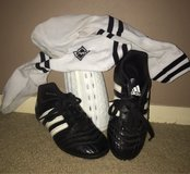 Gently used Adidas youth soccer cleats & socks w shin guards, size  13 in Rolla, Missouri