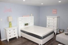 White Solid wood Full size bedroom set including mattress in Kingwood, Texas
