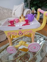 Disney Beauty and the Beast tea cart With Dishes in Yorkville, Illinois