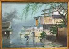 Japanesel Scene - Vintage Oil Painting - Signed in Okinawa, Japan