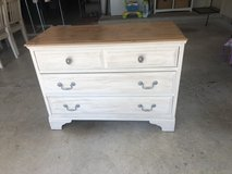 Antique white dresser and nightstand in Kingwood, Texas