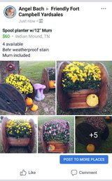"""Spool planters w/12"""" mum in Clarksville, Tennessee"""