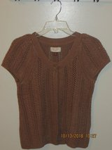 Sonoma Petite Milk Chocolate Brown Short Sleeve Button Cardigan Sweater PM in Joliet, Illinois