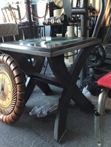 End table dark brown with glass top in Vacaville, California