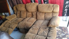 Brown micro suede double recliner couch in Fort Campbell, Kentucky