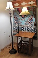 2 lamps one has wood table with storage under 2 for 40 $40 in Alamogordo, New Mexico