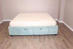 king size Frame- Soft velvet fabric- new mattress  FREE DELIVERY in Spring, Texas