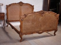 French Elaborately carved good quality caned European king size bed in Vacaville, California