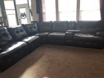 Black leather sectional in Joliet, Illinois