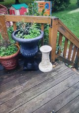 Gazing Ball Stand + Black Urn Planter + 3 Orange Foam Planters in St. Charles, Illinois