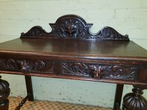 Green Man Carved Oak 2 Draw Table Free Delivery in Lakenheath, UK