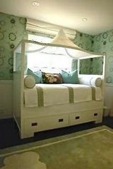 An Amazing Twin Size Designer Custom-Made Cane Canopy Bed with Storage Drawers in Los Angeles, California