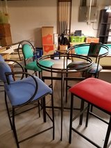 """50""""s Bistro set,  glass with beveled edges, wrought iron table in Chicago, Illinois"""