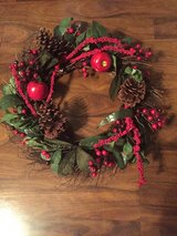 Christmas wreath w/red apples in Eglin AFB, Florida