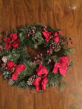 Christmas wreath w/Poinsettias in Eglin AFB, Florida