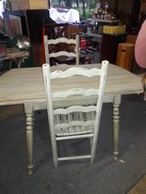 Country rustic shabby chic table & 2 ladder back chairs in Houston, Texas
