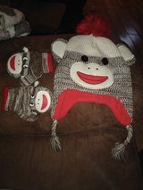 sock monkey hat and gloves in DeRidder, Louisiana