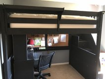 full sized loft bed with desk in Bolingbrook, Illinois