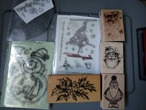 Assorted Christmas stamps in Lakenheath, UK
