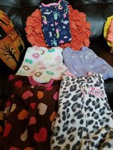 5 Pairs Baby Girl Footed Pjs Size 12 Months in Travis AFB, California