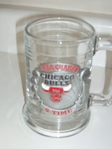 Chicago Bulls five time NBA champs pewter plaque glass mug in Oswego, Illinois