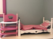 Melissa & Doug Deluxe Wooden Doll Furniture - Bed and High Chair with a Removable Tray. in Joliet, Illinois