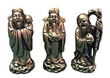 """Chinese Feng Shui Gold Resin Three Wise Men Figurine- 4"""" Set of 3 in Richmond, Virginia"""