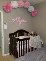 Pink and Gray Damask Baby Bedding in Spring, Texas