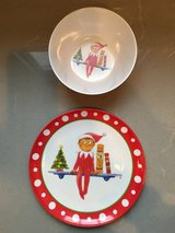 Pottery Barn Kids Elf on a Shelf Plate and Bowl in Glendale Heights, Illinois