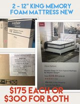"2 - king size 12"" memory foam mattress in Tampa, Florida"