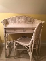 Vintage Wicker Desk with Chair in Camp Lejeune, North Carolina