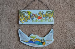 """Margaritaville """"Living for the Weekend"""" Parrot wood hanging wall sign display in Camp Lejeune, North Carolina"""
