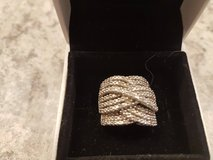 Silver ring with 1/2 carat of real diamonds. in Fort Carson, Colorado
