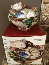 Fitz and Floyd Christmas Cat Covered Dish in Westmont, Illinois