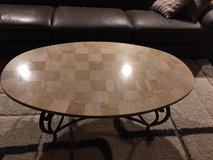 Marble oval coffee table and 2 end tables in Schaumburg, Illinois