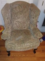 High paisley wing back chair paid $350 in Byron, Georgia