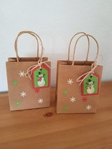 3 Small Gift Bags With Snowman Tags Handmade in Ramstein, Germany
