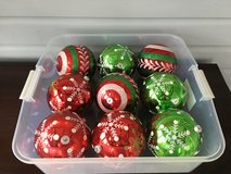 """Set of 9 Jumbo (6"""") Indoor / Outdoor Ornaments (Red, Green & White) in Westmont, Illinois"""