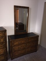 solid wood furniture dresser with mirror. Bedroom. c.1974 in Tinley Park, Illinois