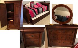 Trundle Bed w/ Mattresses, Dresser/Mirror, Armoire, Nightstand in Byron, Georgia