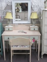 VINTAGE 5 DRAWER VANITY DESK WITH PADDED CHAIR AND MIRROR AT TWICE AS NICE FLEA MARKET BOOTH # 605 in Camp Lejeune, North Carolina
