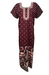 Womens Caftan Maxi Dress Neck Embroidered Cotton Kaftan Nightgown L in Fort Rucker, Alabama