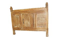 Mogul Interior Antique India Sideboard Damchia Banjara Horse Finials Rustic Designs in Fort Rucker, Alabama