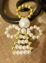"""$3.00 Vintage White/Gold Beaded Angel Brooch  Length 2 1/4""""  Vintage, LOOK NEW - EXcellent Condi... in Leesville, Louisiana"""