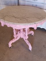 large antique oval marble top entry way table in Camp Lejeune, North Carolina
