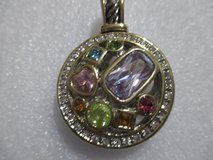 NWT SILVER TONE PENDANT WITH MULTI COLORED CRYSTAL in Kingwood, Texas
